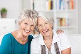 Senior Friends Sitting On Sofa — Stock Photo
