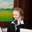 Female receptionist smiling at the reception desk — Stock Photo #29707175