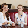 Two beautiful women in a cafe — Stock Photo