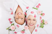 Two smiling friends in a spa — Stock Photo