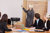 Manageress giving a briefing using a projector — Stock Photo