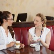 Female friends chatting in a cafe — Stock Photo