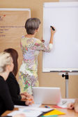Older woman writing on a flipchart — Stock Photo