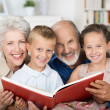 Elderly couple reading to their grandchildren — Stock Photo #30749007