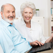 Elderly couple using a laptop computer — Stock Photo