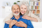 Affectionate elderly couple — Stock Photo
