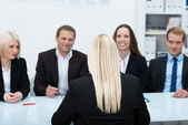 Job applicant in an interview — Stock Photo