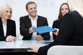 Business team conducting a job interview — Stock Photo