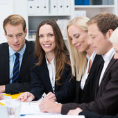 Beautiful businesswoman in a meeting — Stock Photo