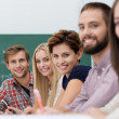 Contented happy university students — Stock Photo