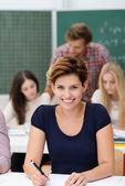 Confident happy female college student — Stock Photo
