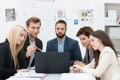 Serious group of business people in a meeting — Stock Photo