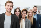 Happy motivated business team — Stock Photo
