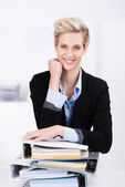 Hardworking attractive blond businesswoman — Stock Photo