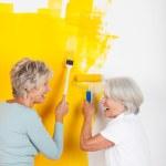 Two women having fun painting a wall — Stock Photo #37247521