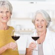 Two senior friends enjoying a glass of red wine — Stock Photo