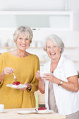 Vivacious senior women enjoying cake for tea — Stock Photo