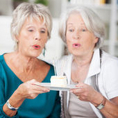 Two elderly women eyeing a piece of delicious cake — Stok fotoğraf