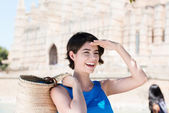 Happy young tourist in Mallorca, Spain — Stock Photo