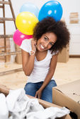 Woman celebrating her new home — Stock Photo