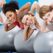 Diverse group of friends having fun at the gym — Stock Photo