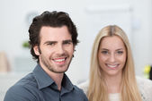 Portrait of a happy attractive couple — Stock Photo
