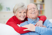 Devoted happy senior couple — Stock Photo