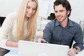 Two friends or partners working in the office — Stock Photo