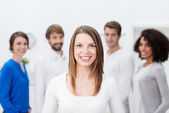 Beautiful young business team leader — Stock Photo