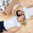 Couple relax on the floor — Stock Photo