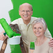 Smiling senior husband and wife team — Stock Photo
