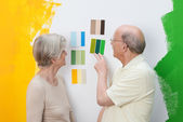 Senior couple deciding on a new paint colour — Stock Photo