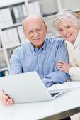 Senior couple reading information on a computer — Stock Photo