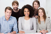 Attractive multiethnic group of young people — Stock Photo