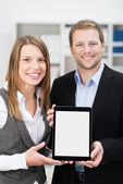 Smiling business partners making a presentation — Stock Photo