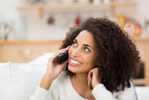 African American lady on her mobile — Stock Photo