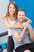 Affectionate health conscious young couple — Stock Photo