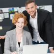 Successful happy young business partners — Stock Photo
