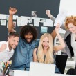 Successful business team celebrating a victory — Stock Photo