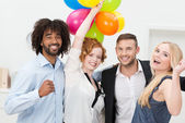 Happy group of business friends partying — Stock Photo