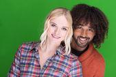 Attractive happy multiethnic couple — Stock Photo