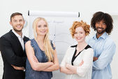 Dedicated confident multiracial business team — Stockfoto