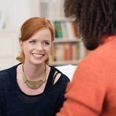 Stylish happy young redhead woman — Stock Photo