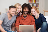 Happy young group of multiracial friends — Stock Photo