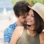 Romantic happy couple at beach — Stock Photo #49041159