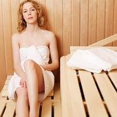 Woman in sauna bath — Stock Photo
