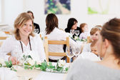 Female guest at catered function — Stock Photo