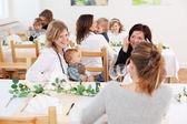 Family with children in restaurant — Stock Photo