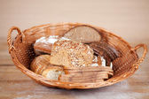 Breads displayed in bread basket — Stock Photo
