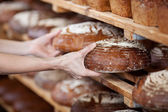 Saleswoman's hands removing breads from shelves — Stock Photo